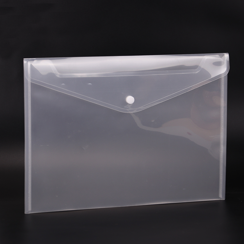 Cute Fashion Transparent A4 Button Closure Folders Document Filing Bag File Folder Stationery Bag Filing Products 1PC