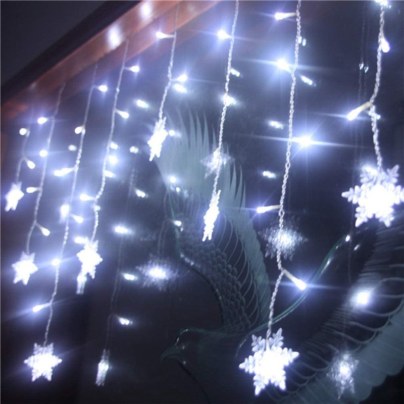 Christmas Garland Curtain lights Extendable LED Curtain Light Snow flake Decorative Lights for Home Halloween Christmas New Year