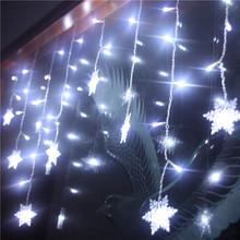 Nowy płatek śniegu LED Garland kurtyny świetlne wzory dla okna domu wesele dekoracyjne światełka świąteczne 3 5M na zewnątrz kryty tanie tanio 南塔 (汽配) CN (pochodzenie) 12 months CHRISTMAS Z tworzywa sztucznego Żarówki led Brak 220 v 800cm 1-5 m WHITE 101-150 głowy