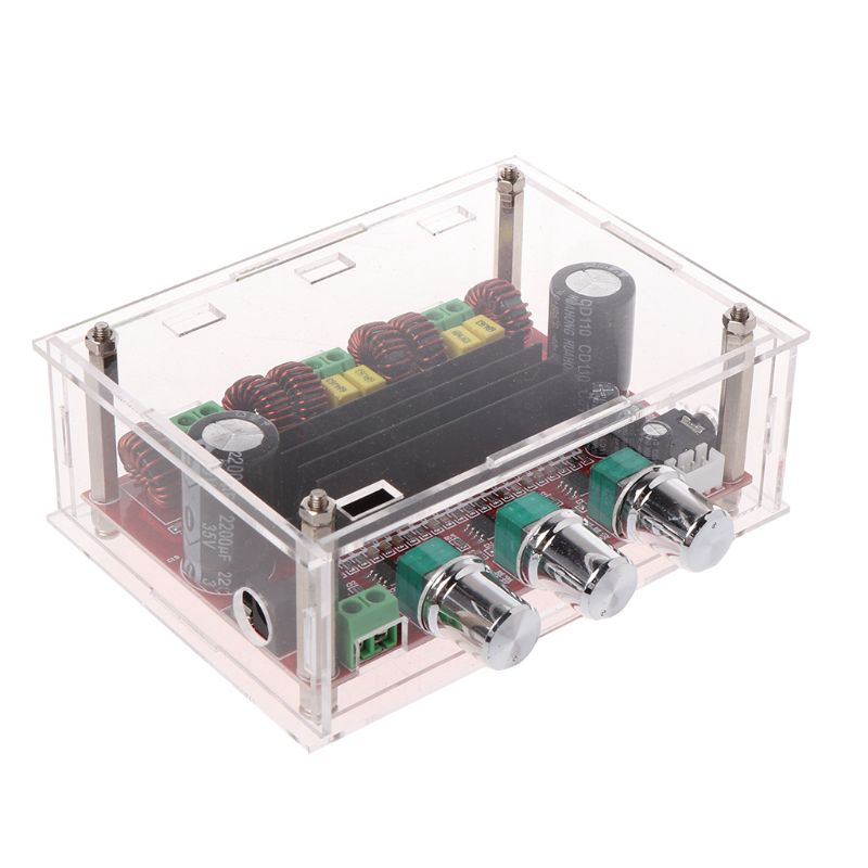 <font><b>TPA3116</b></font> <font><b>D2</b></font> 12-24V 50Wx2+100W <font><b>2.1</b></font> Subwoofer Power Channel Digital Audio Amplifier Board with Acrylic ShellW91A image
