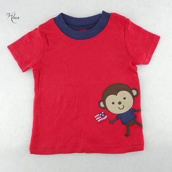 Letnia koszulka rekreacyjna dla niemowląt odzież dla niemowląt odzież dla niemowląt O-Neck czerwona małpa haft z krótkim rękawem Tees stylowe topy tanie i dobre opinie Moda COTTON Pasuje mniejszy niż zwykle proszę sprawdzić ten sklep jest dobór informacji Zwierząt Boys baby leisure