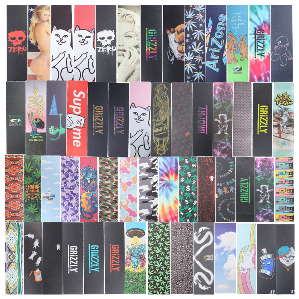 GRIZZLY Skateboard Grip Tapes With Perforated Holes Factory Storage Sell Marvel Designs OS780 Good Quality Grip Tape