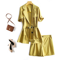 2020 Chic Business Suit Jacket+shorts Two Pieces Sets Spring Summer Women Set Bandage Casual Sexy Fashion Tracksuits