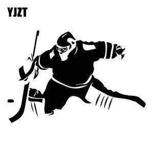 YJZT 18CM*12CM Ice Hockey Winter Sports Fashion Decal Cartoon Vinyl Car Sticker Black/Silver C31-0215