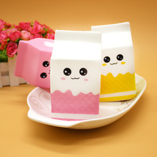 Cute Squishy Milk Box Unicorn Bread Banana Ice Cream Jumbo Simulate Pendant French Fries Squeeze Toy Stress Stretch Kids Gift