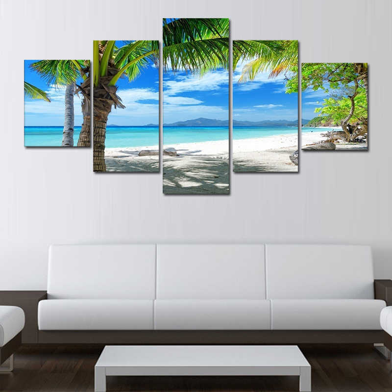 No Frame 5 Piece Wall Art Maldives Islands Palm Tree Ocean Canvas Painting HD Prints Wall Pictures For Living Room Decor Modular