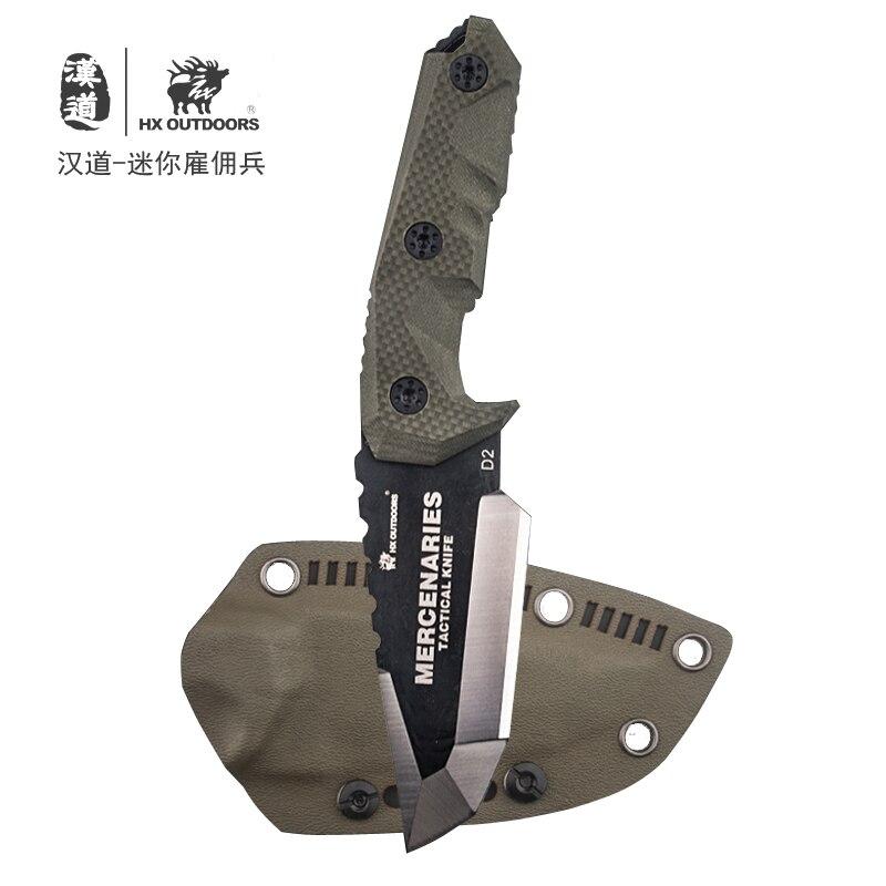 چاقوی HX OUTDOORS D2 G10 دارای تیغه فولادی D2 تاکتیکی مستقیم چاقوی بقا درست چاقوی بقا ، چاقوی مجموعه چاقو در فضای باز