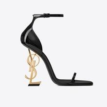Fericzot verão moda sexy sandálias abertas praça toe bombas sapatos femininos alta carta salto festa de casamento sapato