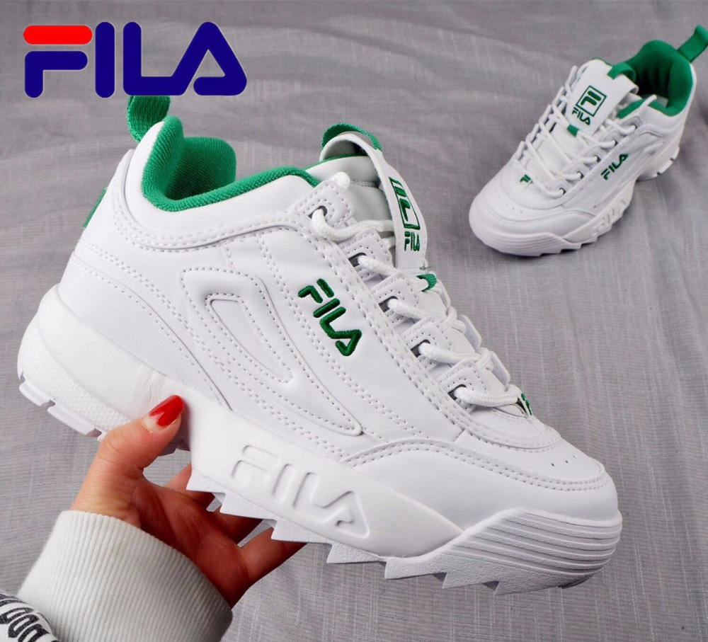 green and white fila shoes