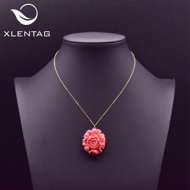XlentAg Original 925 Sterling Silver Flower Pendant Coral Necklace For Women Chains Collares Aesthetic Boho Fine Jewelry GN0072(China)
