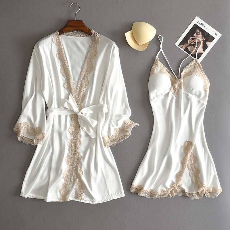 Lace Bridal Wedding Robe Suit Satin Women Kimono Bath Gown Sexy Bathrobe Chemise Nightgown Summer Dressing V-Neck Loungewear