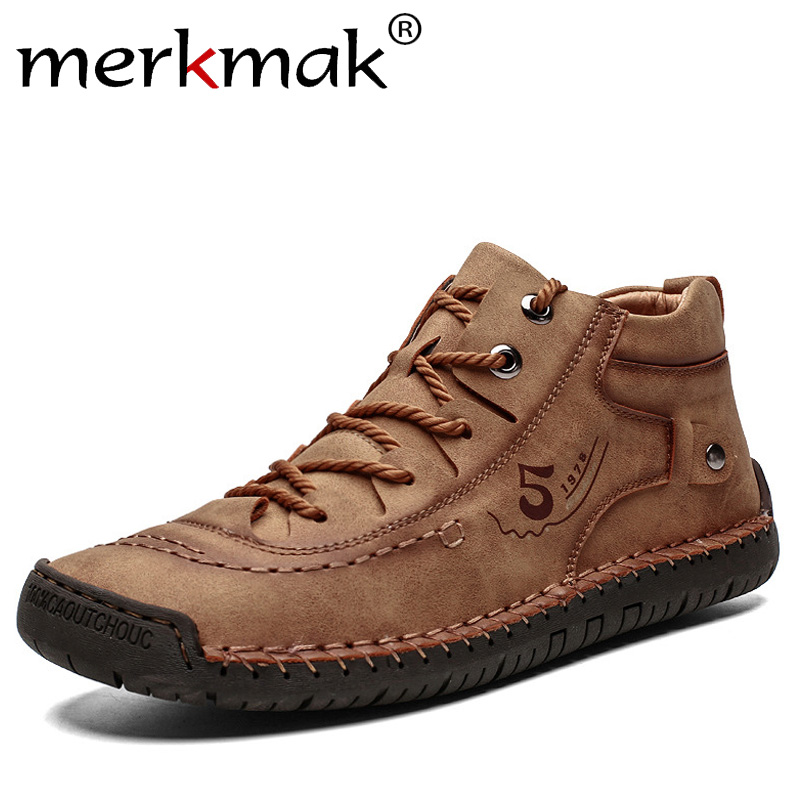 Merkmak 2019 New Winter Men Casual Shoes Warm Non-slip Sneakers Fashion Lace-up Ankle Booties Winter Male Work Boots Big Size 48