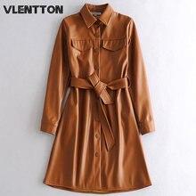 Женские винтажные Куртки из искусственной кожи с поясом верхняя