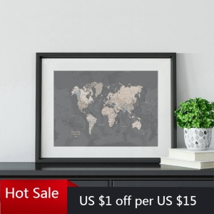 World Map Art Print Gray Poster Wall Decoration Compass Live Map of the World Wall Art Picture Canvas Painting Home Room Decor