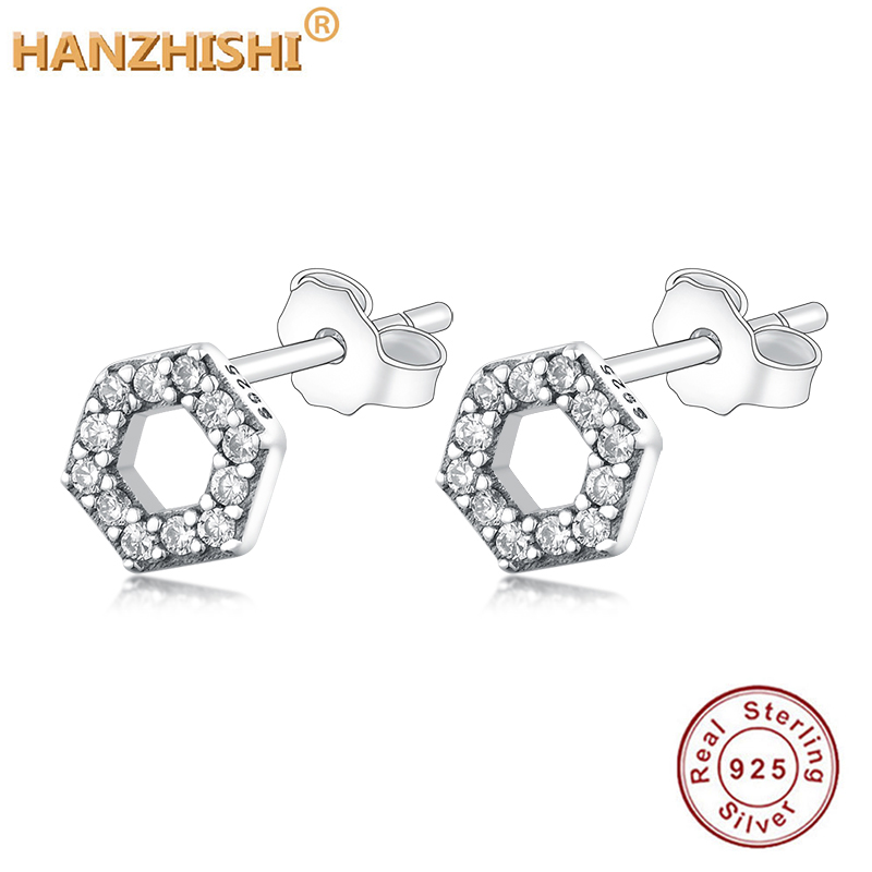 Sparkling Honeycomb Hexagon Stud Earrings 925 Sterling Silver Jewelry For Woman Make Up Fashion Female Earrings Party Jewelry