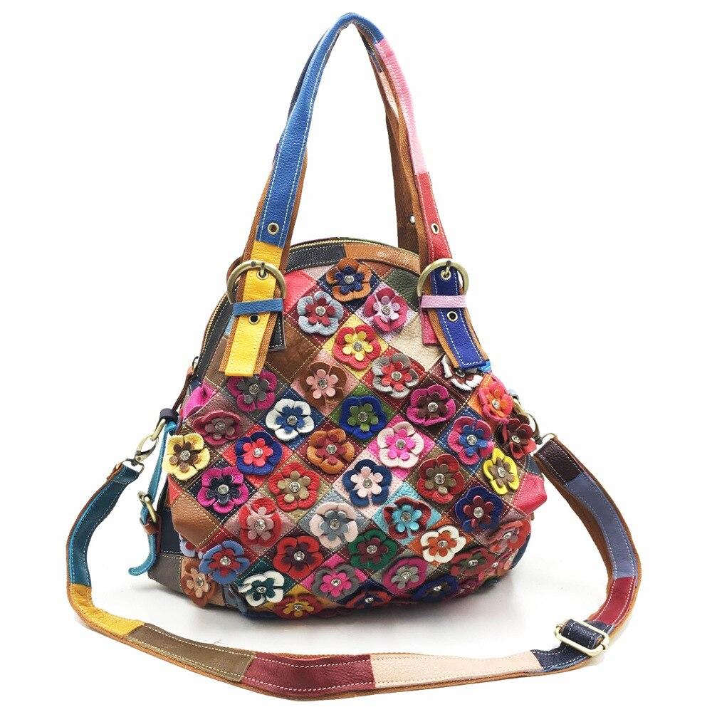 Genuine Leather Flower Design Tote Bag