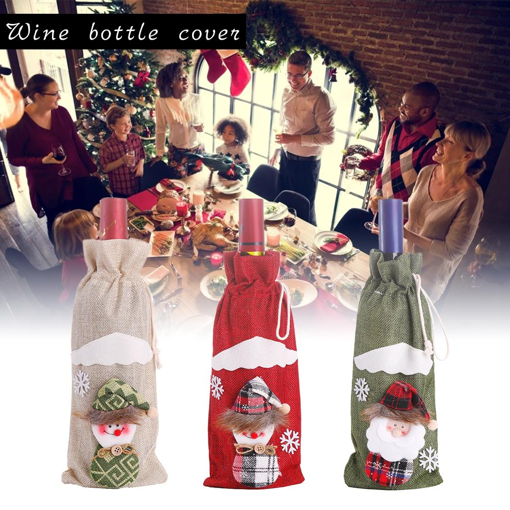 New Christmas Bottle Cover Red Wine Champagne Bottle Bag Christmas Decorations