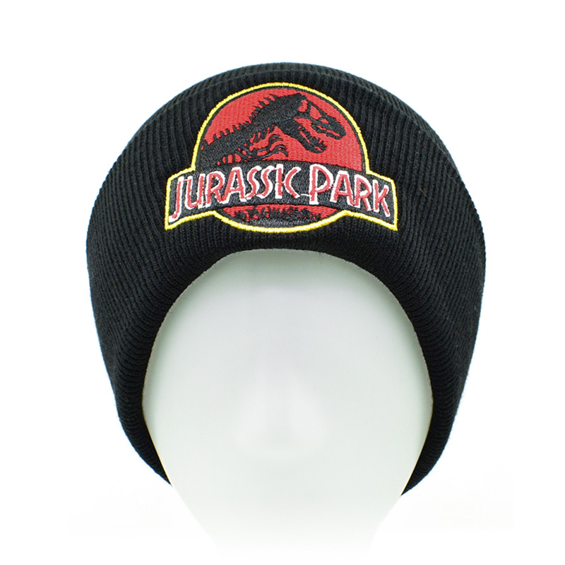 Jurassic Park Beanies For Girls Boys Casual Embroidery Knitted Winter Warm Men Women Hip-hop Bonnet Cap