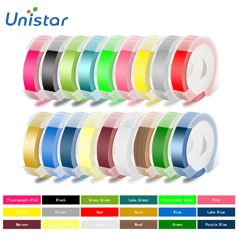 Unsitar 1 roll 3D Embossing Tape Compatible for Dymo PVC Printer Ribbons Multiple Colors for 1610 18
