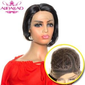 Pelucas de cabello humano corto brasileño Remy de cabeza recta costura Bob corto corte pixie Peluca de malla con división lateral peluca Natural de pelo humano oscuro