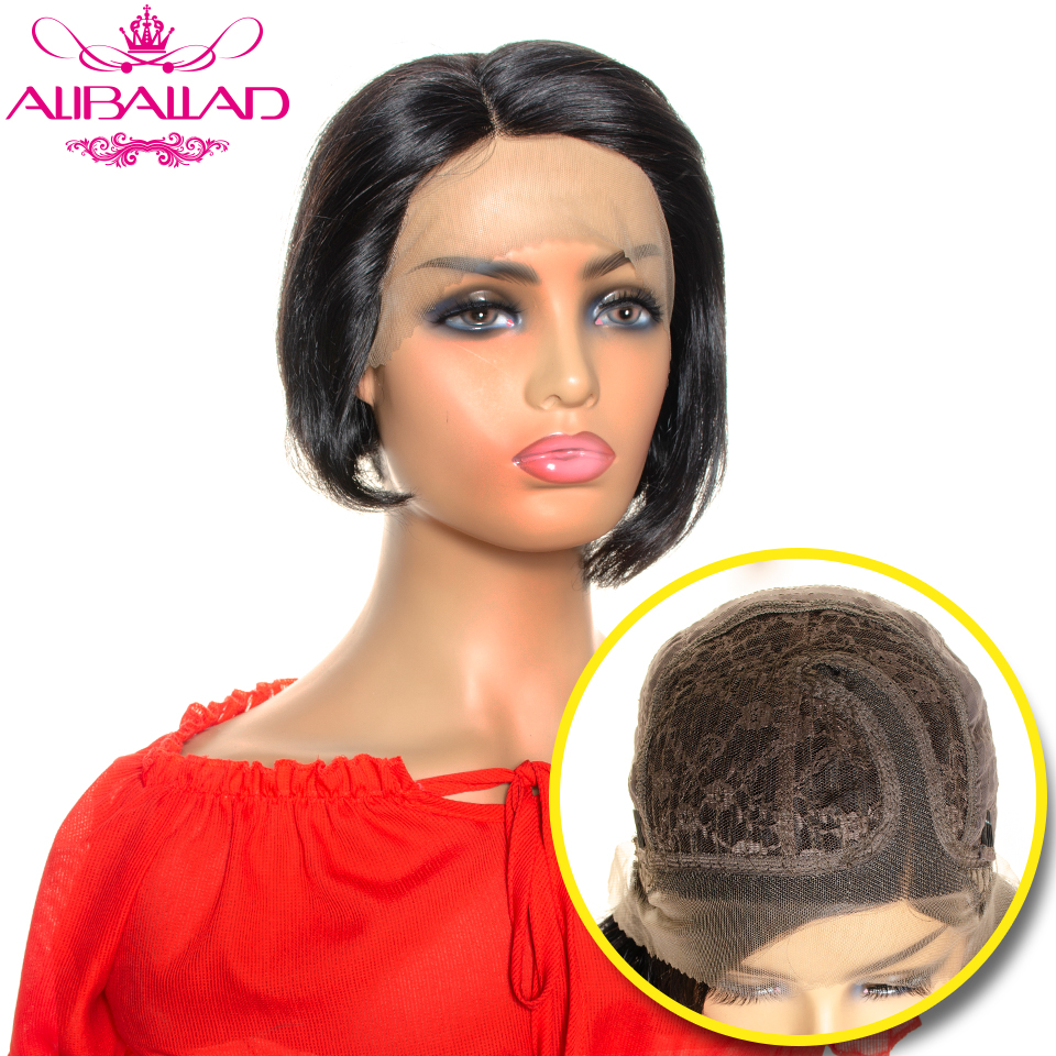 Short Human Hair Wigs Brazilian Remy Straight Head Seam Short Bob Pixie Cut Wig Side Part Lace Wig Natural Dark Human Hair Wig