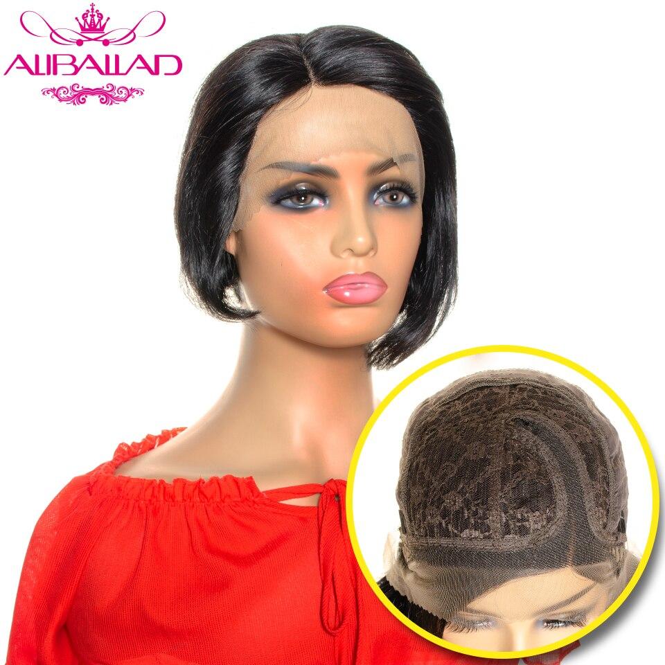 Short Human Hair Wigs Brazilian Remy Straight Head Seam Short Bob Pixie Cut Wig Side Part Lace Wig Natural Dark Human Hair Wig