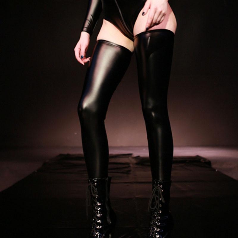 Сексуальные чулки из ПВХ и кожи размера плюс, сексуальные чулки из латекса «Medias», чулки до колена для танцев на шесте, сексуальные Чулочные и...