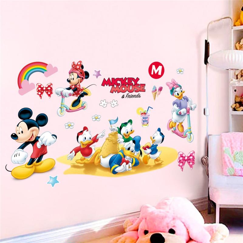 Lot de 24 autocollants muraux en PVC pour chambre denfant Motif t/ête de Mickey Mouse