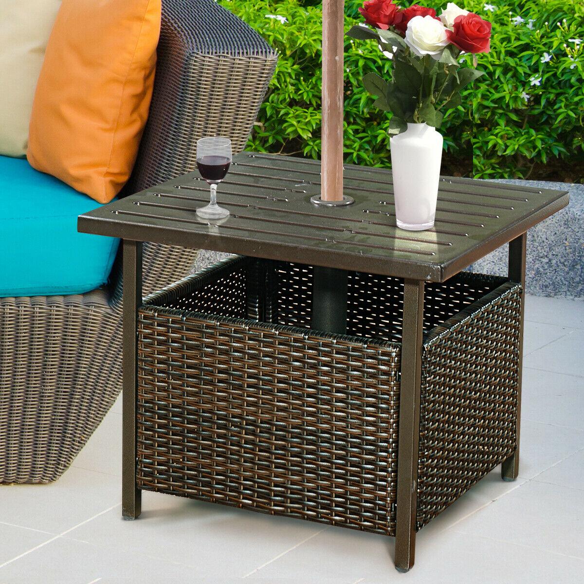 costway brown rattan wicker steel side table outdoor furniture deck garden patio pool hw52881