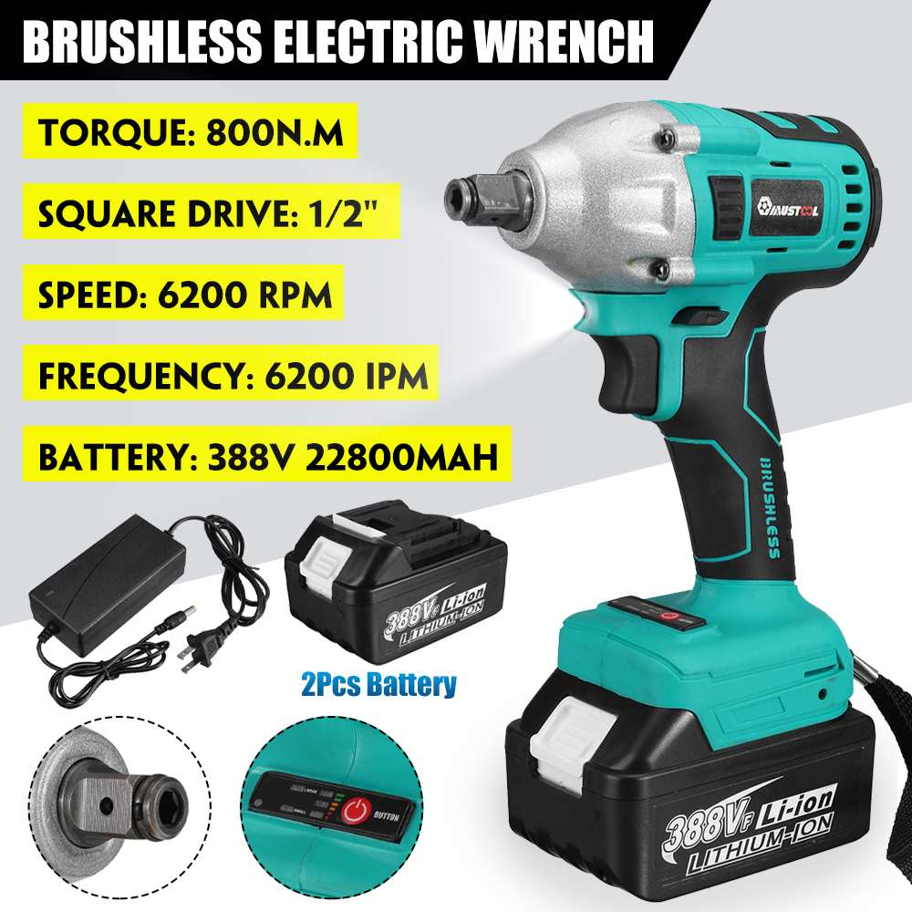 388VF 22800mAh Brushless Electric Impact Wrench 1 2 800N m Torque Wrench Li-ion Batery Power Tools Adapt to Makita 18V Battery