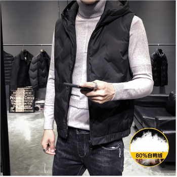 Men's cotton clothing 2020 spring new short paragraph hooded down slim warm vest cotton clothing youth fashion men's clothing