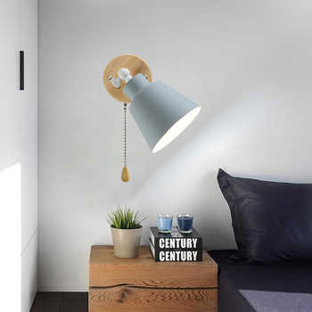 Modern Wall Lamps With zip Switch Bedside Wall Light Wall Sconce Nordic For Bedroom Macaroon 3 Color Steering Head E27 85-285V - Category 🛒 Lights & Lighting