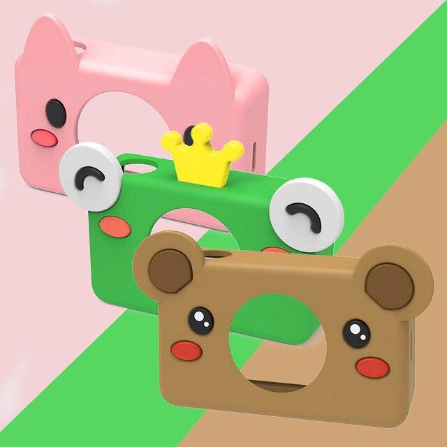 Besegad Leuke Cartoon Dier Siliconen Beschermhoes Cover Skin Shell met Lanyard voor Kinderen Kids Digitale Camera Camcorder