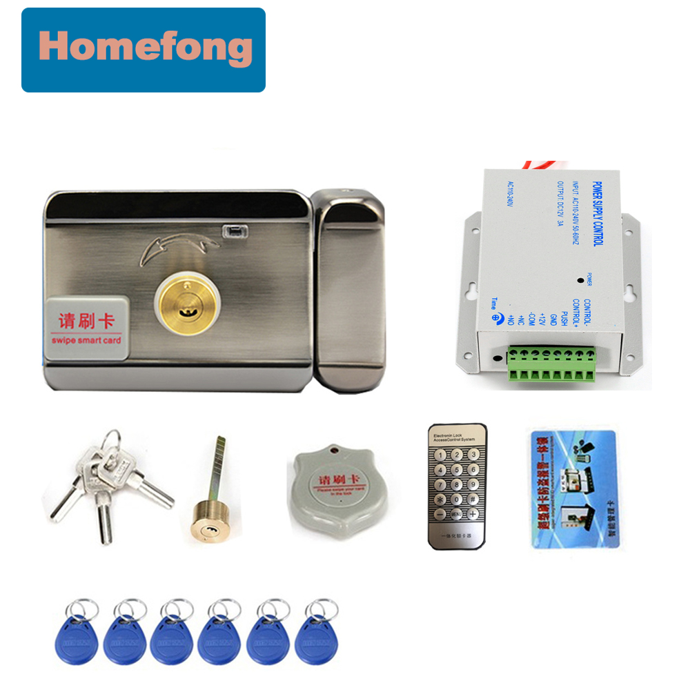 Homefong Electric Gate Lock Door With Key RFID Card 3A Power Supply  For Video Door Phone Intercom System 12V
