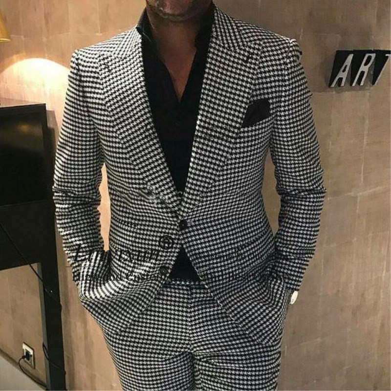 Double Breasted Groomsmen Peak Lapel Groom Tuxedos Houndstooth Men Suits Wedding/Prom/Dinner Best Man Blazer ( Jacket+Pants)