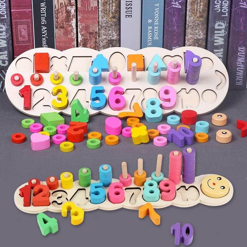 Montessori matemáticas juguetes de madera educacional para niños juguetes Montessori material de enseñanza para niños formas geométricas de Aprendizaje Temprano 20 tipo DIY de Control remoto inalámbrico de carreras de modelo Kit de madera para niños de ciencia física de juguete ensamblado juguete educativo de coche