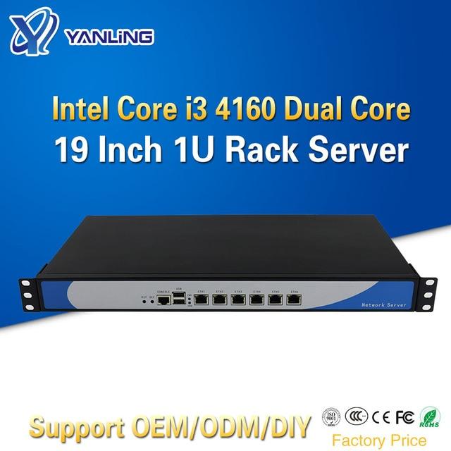 Yanling customize 6 Lan Mini Linux 1U Rackmount Server i3 4160 Cloud Computer Pfsense PC With VGA CF Card Slot For Windows 10