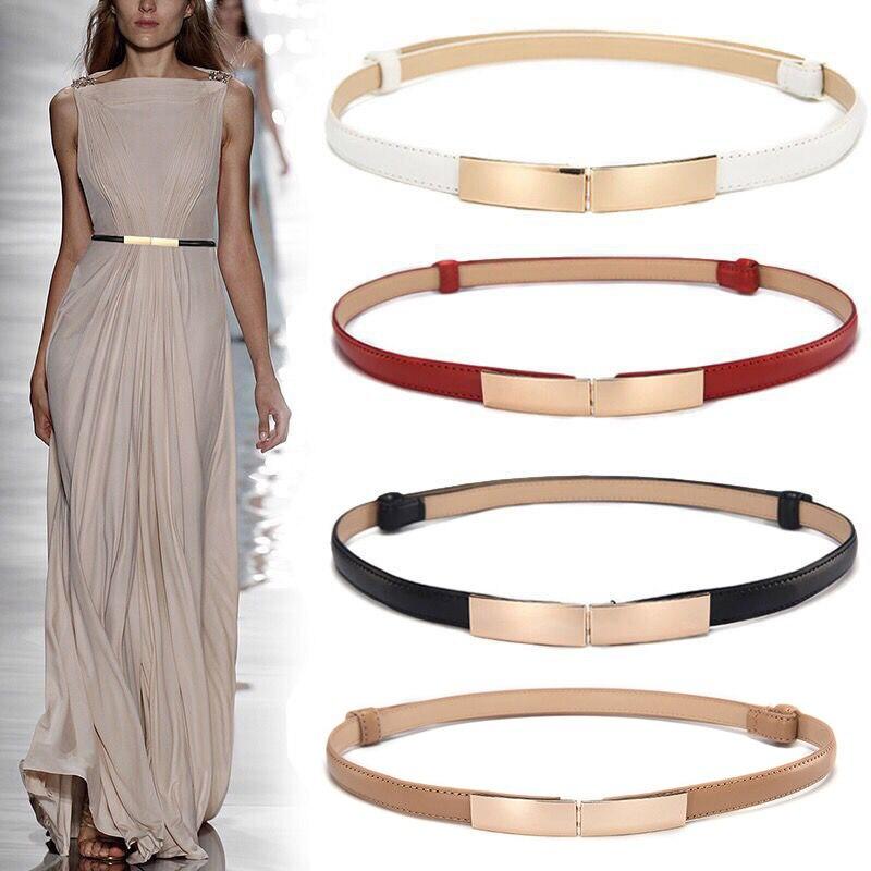 2019 Fashion Women Dress\'s Leather Belt Thin Skinny Metal Gold Elastic Buckle Waistband Belt Ladies Dress Clothing Accessories