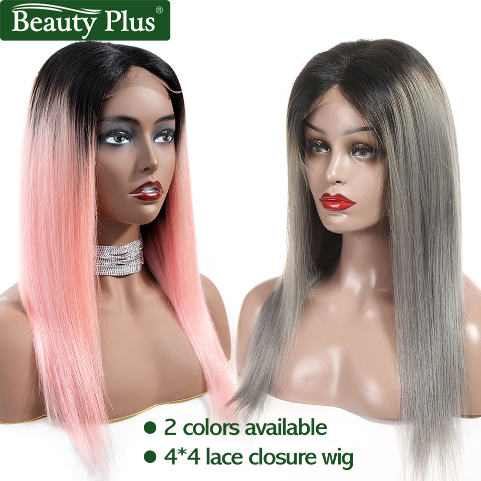 Lace Closure Wig 4x4 Pre Colored Rose Pink Ombre Human Hair Wig for Black Women Brazilian Remy Short Hair Wigs Beauty Plus-in Lace Front Wigs from Hair Extensions & Wigs    1