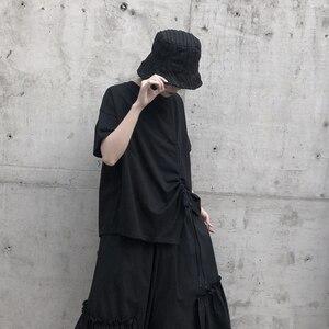 Kordelzug stretch falten plain schwarz und weiß lose t-shirt sommer kurze jacke 2020 neue sommer kleidung