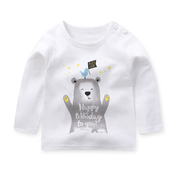 Bawełniane koszulki dziecięce koszulki zimowe dziecięce chłopięce koszulki z długim rękawem dziecięce koszulki dziecięce koszulki dziecięce topy świąteczna koszula tanie i dobre opinie Unini-yun COTTON Moda W paski REGULAR O-neck Pełna Pasuje prawda na wymiar weź swój normalny rozmiar Unisex