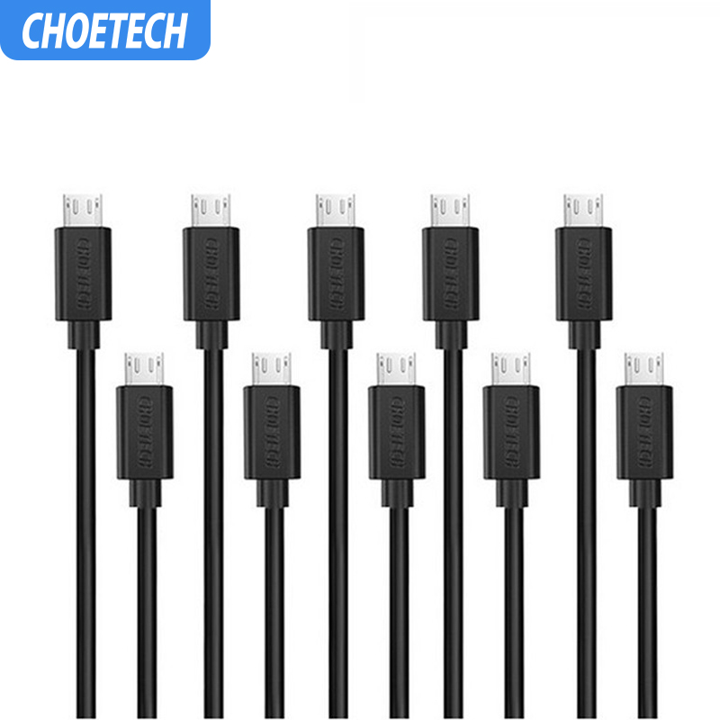 CHOETECH 10PCS/Lot Micro USB Cable 5V 2.4A 3.9ft/1.2m USB 2.0 Fast Data Charger Cable for Samsung Galaxy S7 Mobile Phone Cable