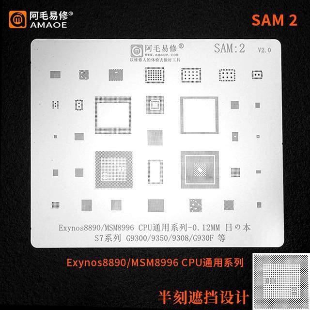 Amaoe BGA reballing stencil For  SAMSUNG S7 S7+ G9300 G9350 G930F Exynos 8890 MSM8996 CPU RAM WIFI POWER Chip Tin Plant Net 1