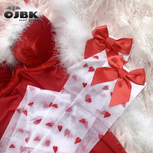 OJBK Cute Transparent Small Heart Stockings Pure Lovely Red Bow Over Knee White Tigh High Sexy Suspender Tube Silk Stocking 2020