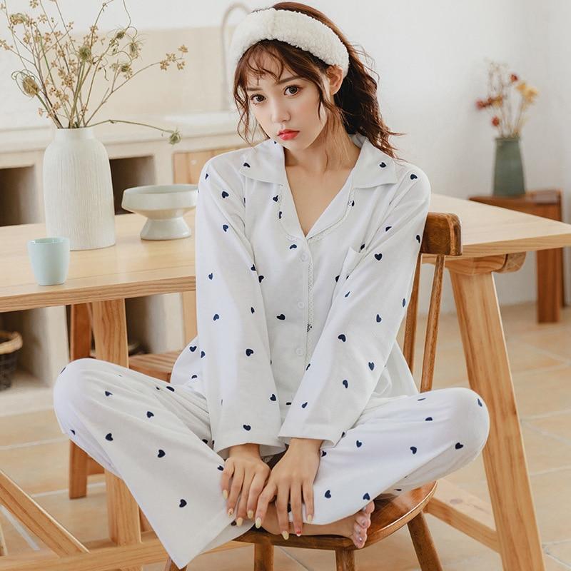 Spring Pajamas WOMEN'S Cardigan Long Sleeve Trousers Cartoon Homewear Set C1010 #190 Grams Qmilch M -Xxl