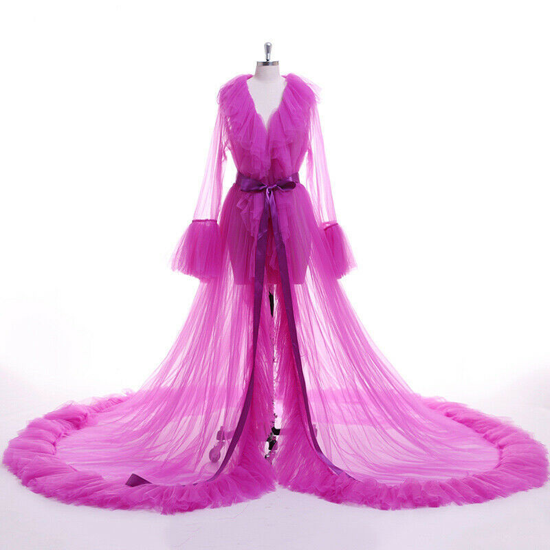 Sexy Women Lingerie Lace Sheer Mesh Tulle Perspective V Neck Layered Ruffles Maxi Floor Long Bath Robe Gown Sleepwear Dresses