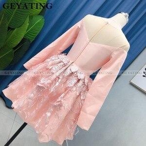 Image 5 - Zarif uzun kollu allık pembe 3D çiçek mezuniyet elbiseleri 2020 A line diz boyu kısa kokteyl elbise mezuniyet parti törenlerinde