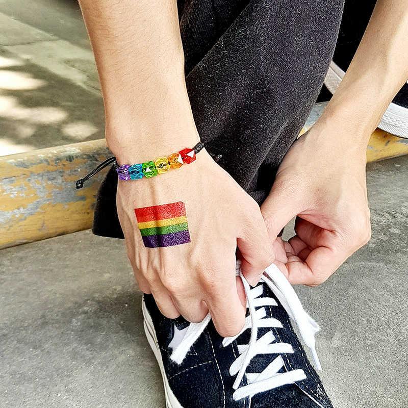 Vnox Regenbogen Perlen Armbänder für Männer Einstellbare Seil Bunte Klar Perlen Unisex Stolz LGBTQ Schmuck