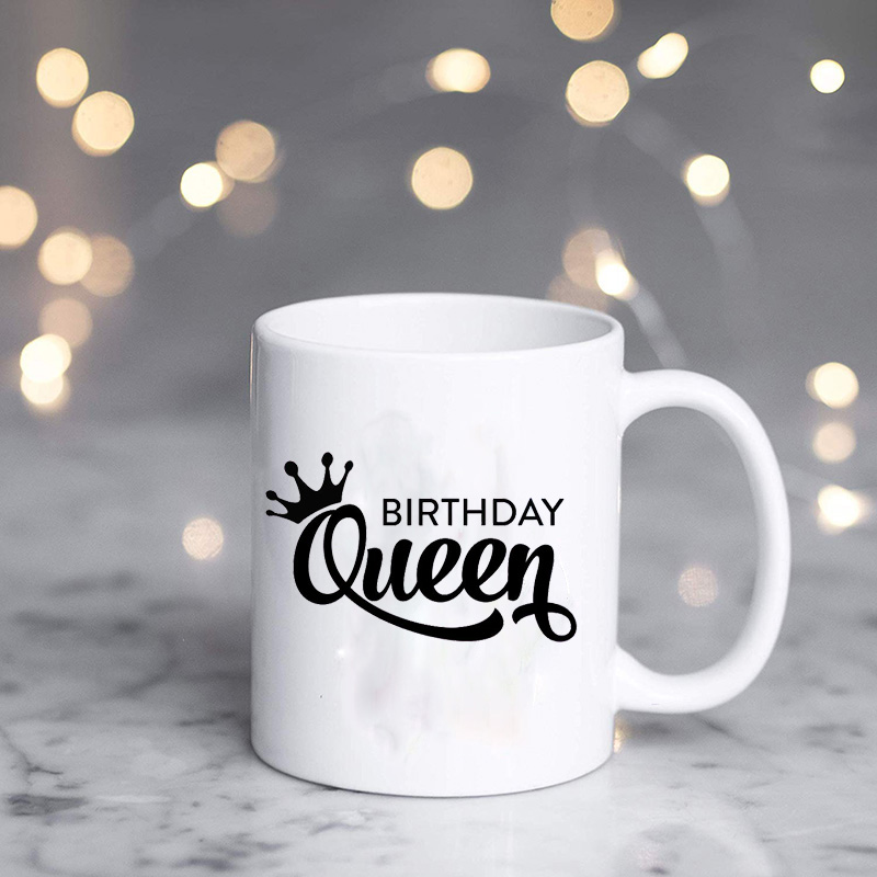 Happy <font><b>Birthday</b></font> queen Coffee Mug cup 16th 18th 21st 25th 30th 35th 40th 50th 60th <font><b>70th</b></font> 80th 90th Party Decoration present gift image