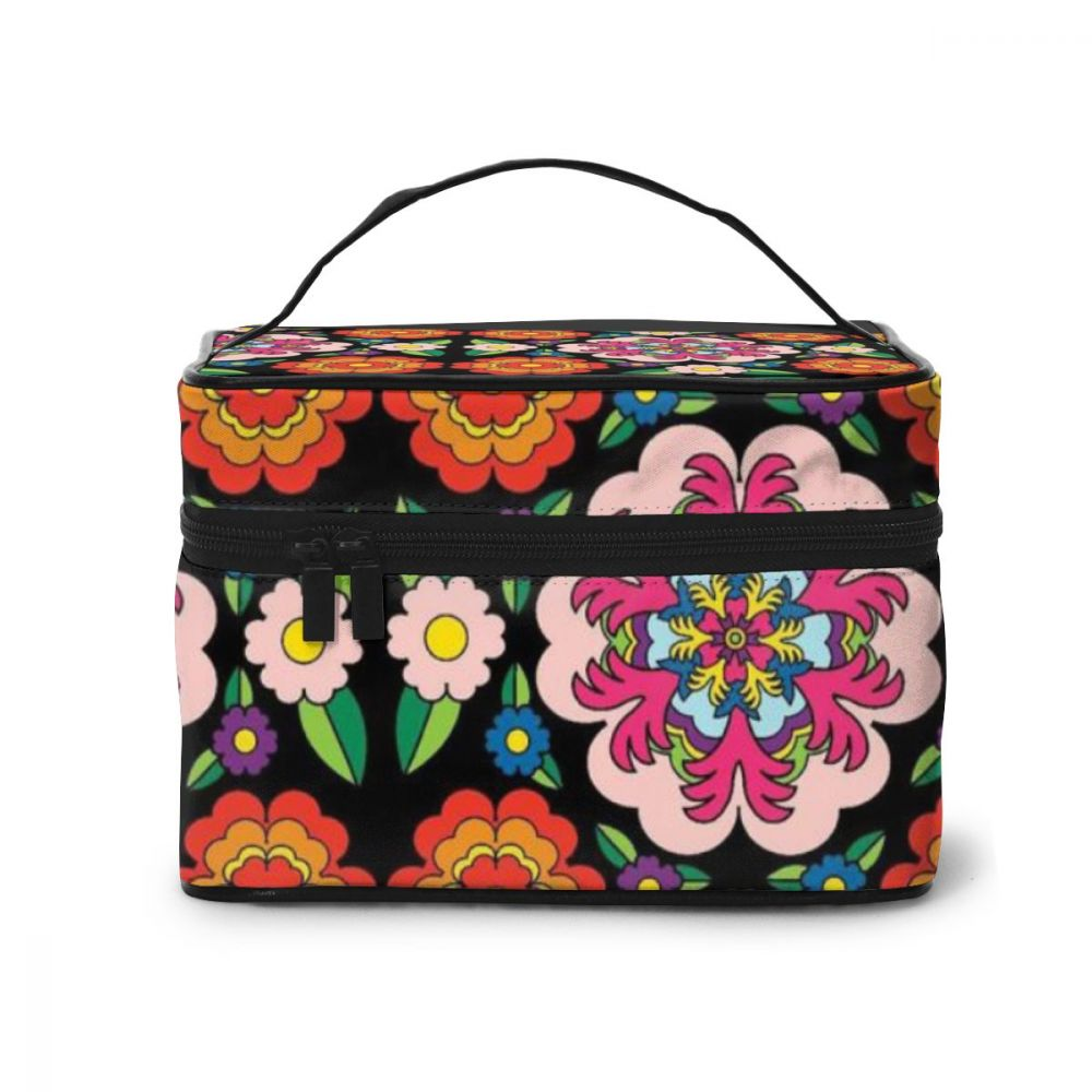 NOISYDESIGNS Customize Makeup Bag Organizer Henna Flowers Design Women's Cosmetic Bags Beauty Case Large Capacity